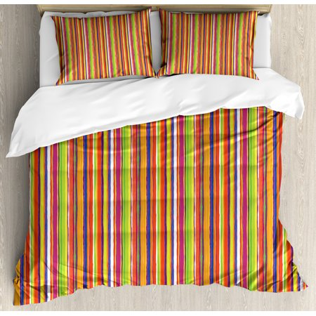 Stripes Queen Size Duvet Cover Set, Hand Drawn Barcode Style Lines Rainbow Colored Abstract Geometric Illustration, Decorative 3 Piece Bedding Set with 2 Pillow Shams, Multicolor, by Ambesonne