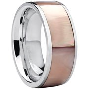 Flat Top Stainless Steel Women's Pink Mother Of Pearl Wedding Ring Fashion Band 10