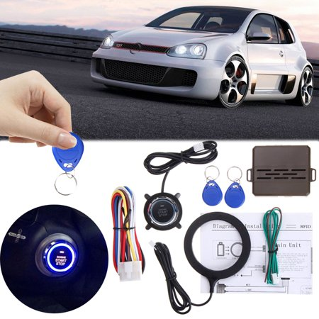 12V Universal Car Security Keyless Entry Engine Start Alarm System Push Button Remote Starter Auto SUV RFID Lock Ignition Kit