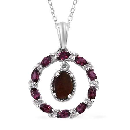 "925 Sterling Silver Platinum Plated Ammolite Rhodolite Garnet Chain Pendant Necklace for Women 20"""