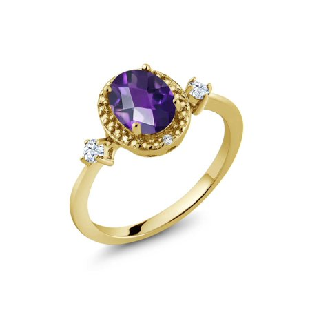 1.11 Ct Oval Checkerboard Purple Amethyst White Created Sapphire 18K Yellow Gold Plated Silver Ring](Checkered Flag Ring)