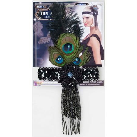 Black Flapper Headband With Peacock Feathers Halloween Costume Accessory