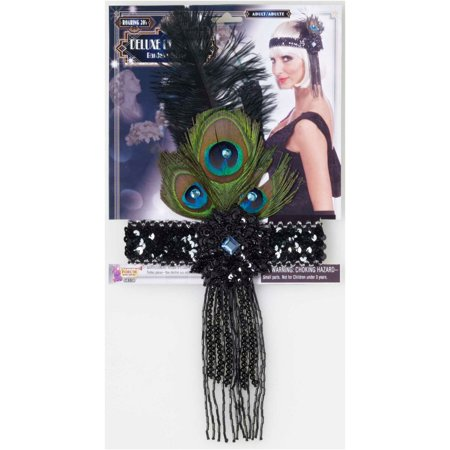 Black Flapper Headband With Peacock Feathers Halloween Costume Accessory - Halloween Peacock