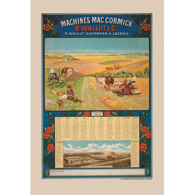 Buy Enlarge 0-587-14520-xP20x30 Machines MacCormick - Calendar  1922- Paper Size P20x30