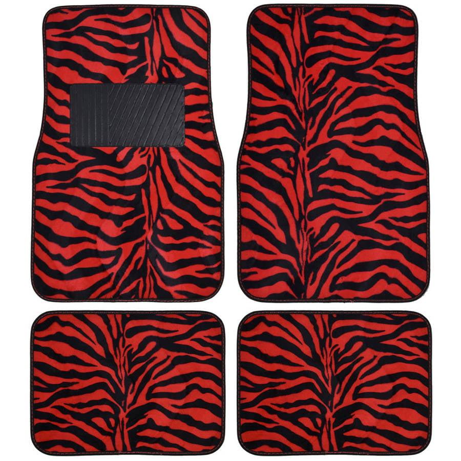 BDK Zebra Car Floor Mats, Animal Prints Mat, 4 Pieces, Red