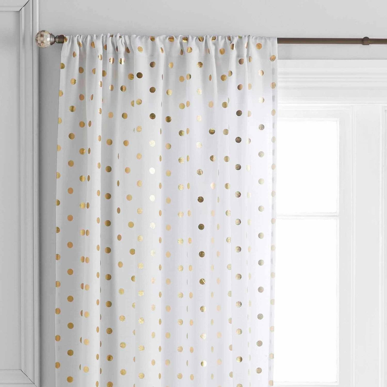 Gold polka dot curtain panels soozone Better homes and gardens valances for small windows