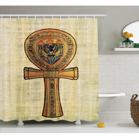 Egyptian decor shower curtain set ancient papyrus for Bathroom accessories egypt