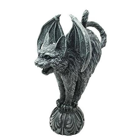 Stone Sculpture Supplies - Bizarre Gothic Eureka Bat Winged Cat Gargoyle Figurine Sculpture Stoic Guardian Castle Top Stone Creature