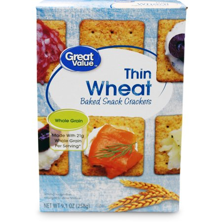 Snack Food Ideas For Halloween ((4 Pack) Great Value Thin Wheat Baked Snack Crackers, 9.1)