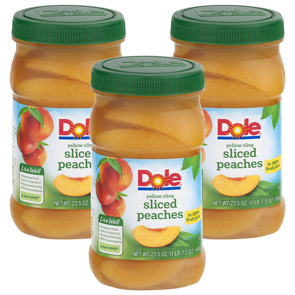 (3 Pack) Dole Yellow Cling Sliced Peaches in 100% Fruit Juice 23.5 oz. Plastic Jar