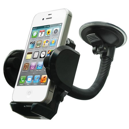 Gps Dashboard Windshield - Cell Phone Holder - Mobile Phone Car Mount - 360 Degree Rotation Windshield Dashboard Cradle for GPS iPhone X 8 7 7Plus 6 6Plus 5S 5 5C Samsung Galaxy S7 Edge 6S Smartphones