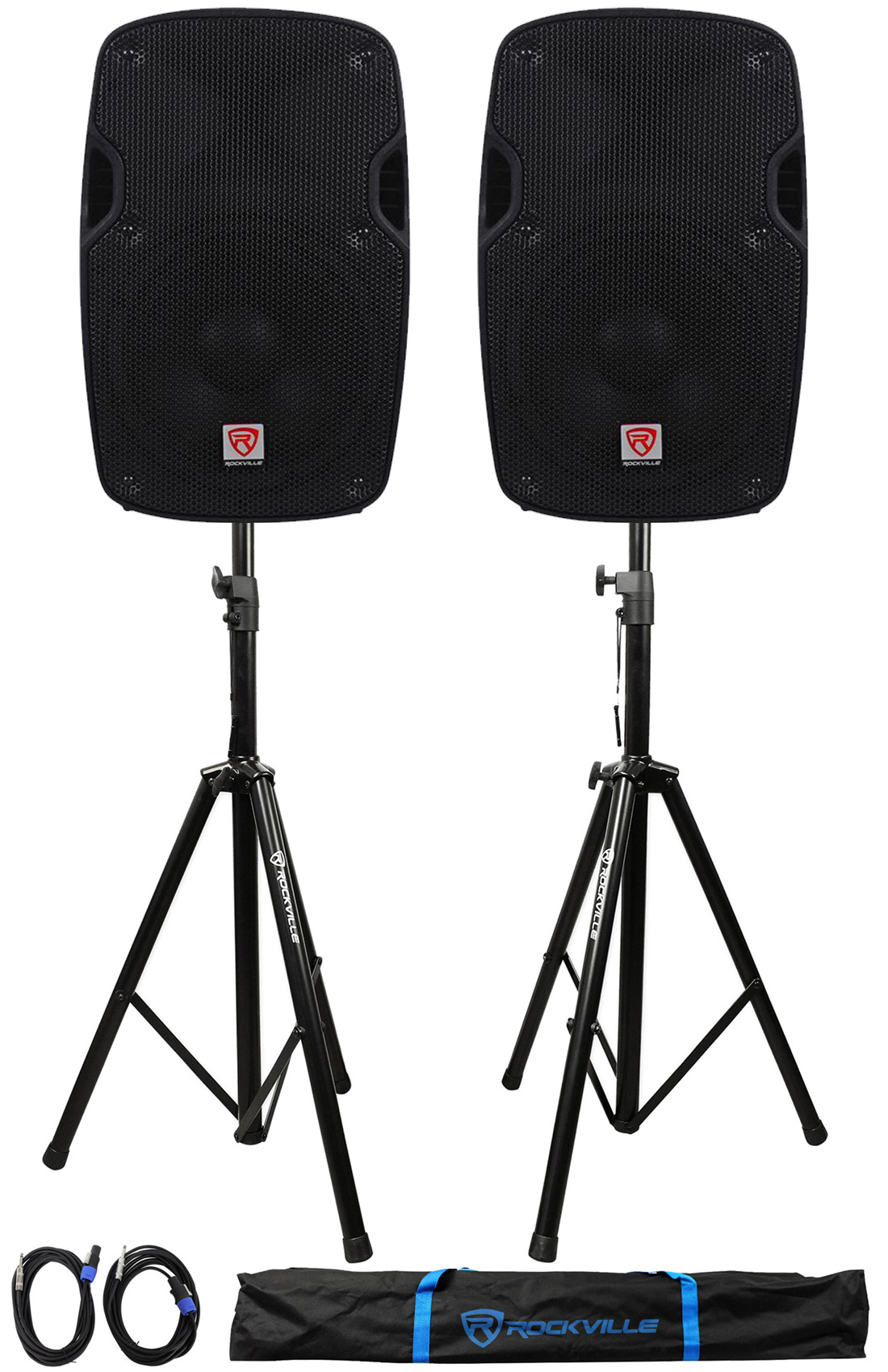 2) Rockville SPG88 8� Passive 800W DJ PA Speakers 8 Ohm 2) Stands+2) Cables+Case by ROCKVILLE