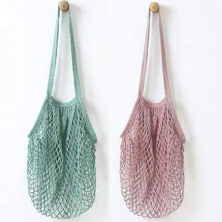 2Pcs Portable Reusable Mesh Cotton Net String Bag Organizer Shopping Tote Handbag Fruit Storage Shopper NEW (green,purple) Green Bag Fruit