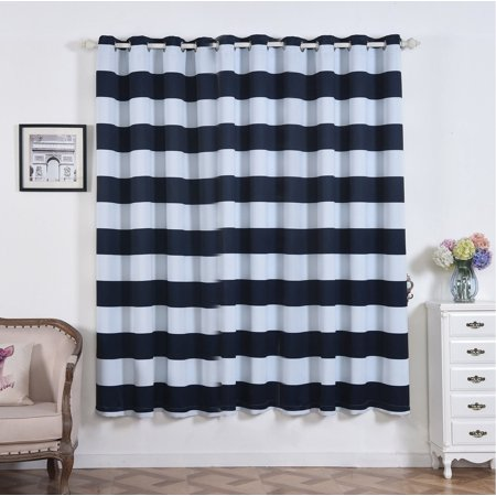"Efavormart 2 Panels Cabana Stripe Thermal Insulated Blackout Curtains With Chrome Grommet Window Treatment  52""x84"""