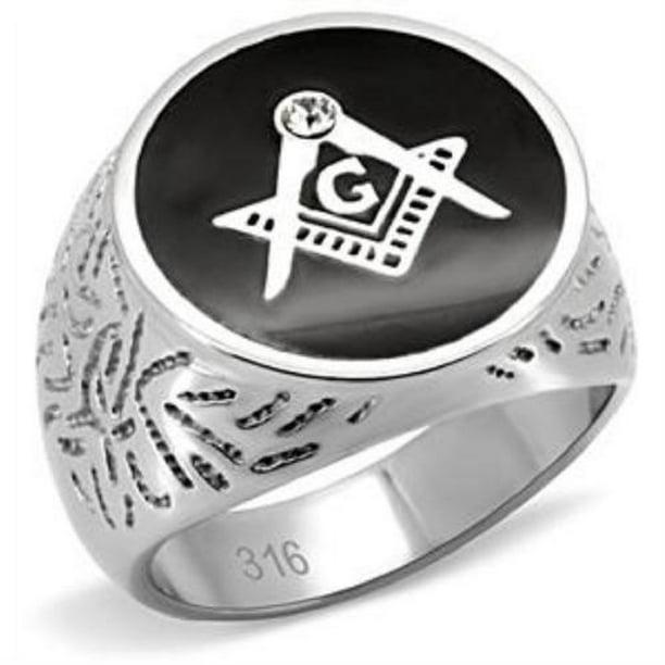 Stylish Masonic Ring Black Mason/'s Lodge Ring Choose your size
