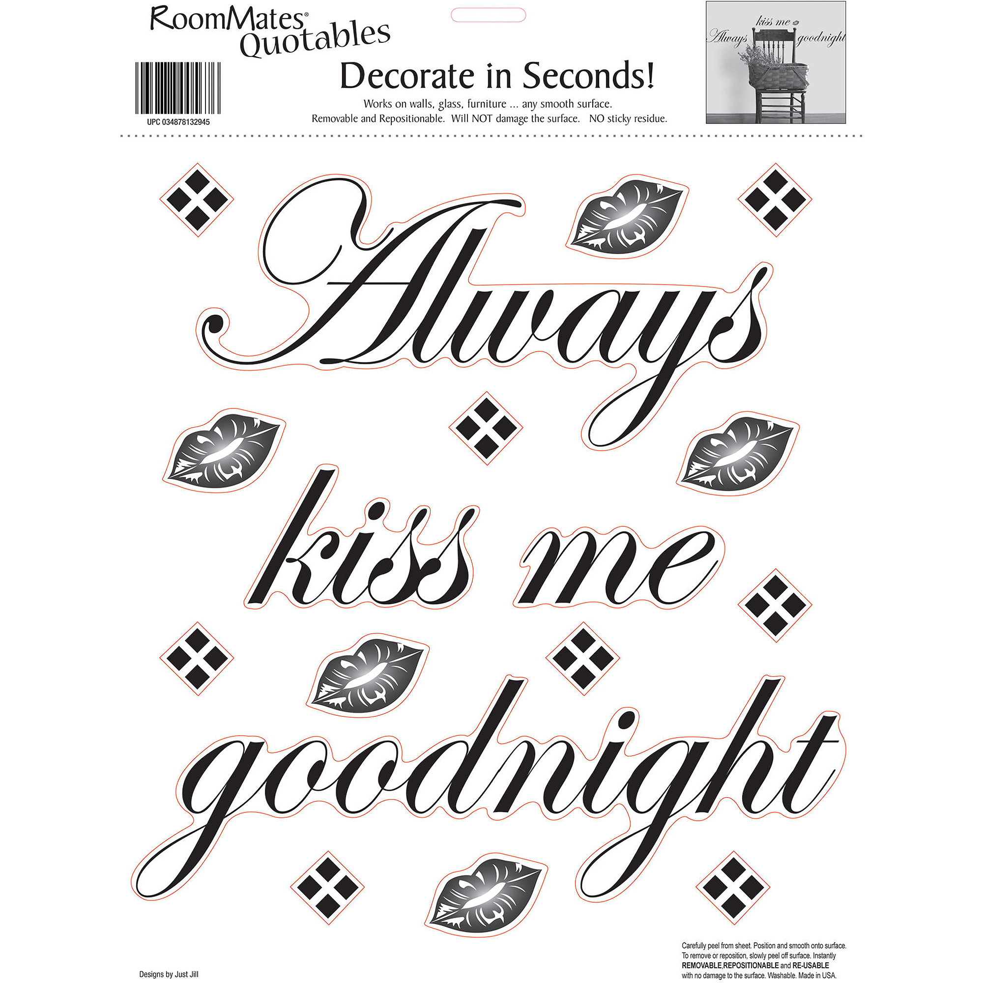 RoomMates Always Kiss Me Goodnight Peel and Stick Wall Decals, Single Sheet