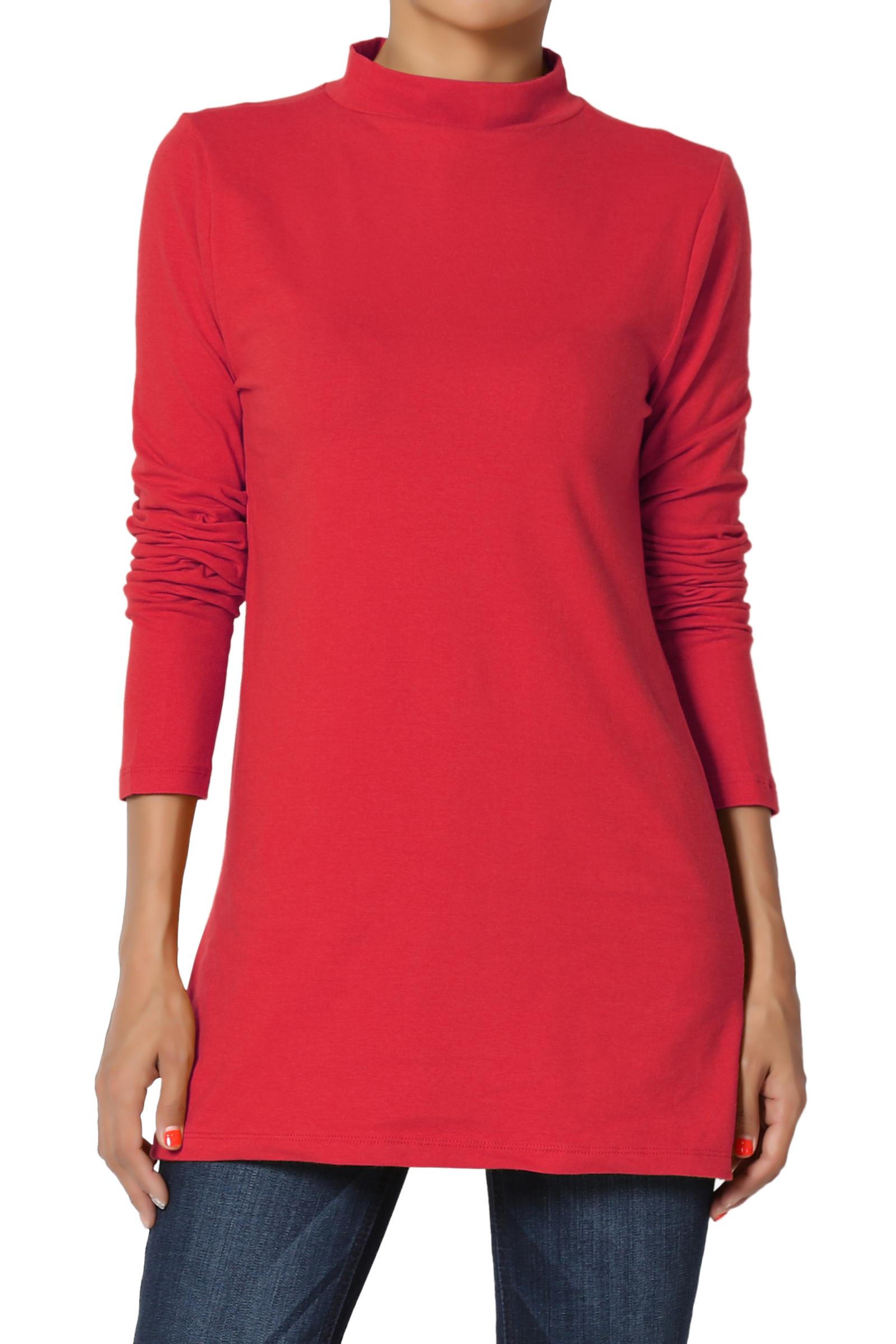 TheMogan Women's PLUS Mock Neck Long Sleeve T-Shirt Stretch Cotton Slim Fit Top