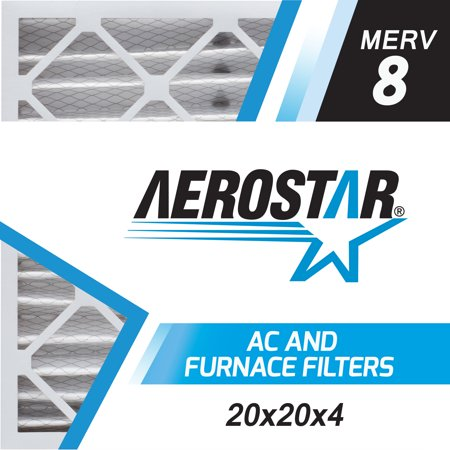 - Aerostar 20x20x4 (Two Pack) MERV  8, Pleated Air Filter, 20 x 20 x 4, Box of 2, Made in the USA