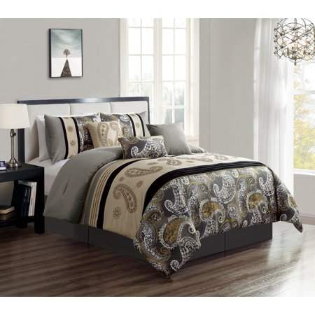 WPM 7 Piece Bedding set, Grey, Beige, Taupe Comforter with Accent pillows  California King size Bed in a Bag Paisley