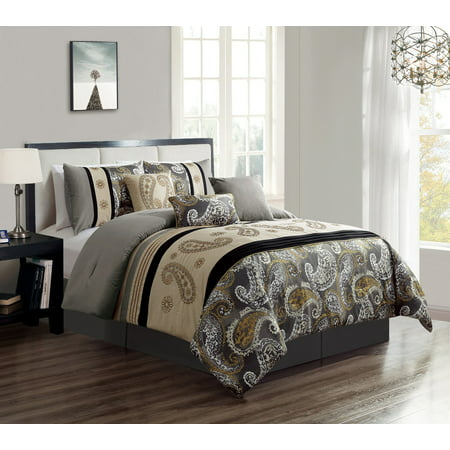 Wpm 7 Piece Bedding Set Grey Beige Taupe Comforter With