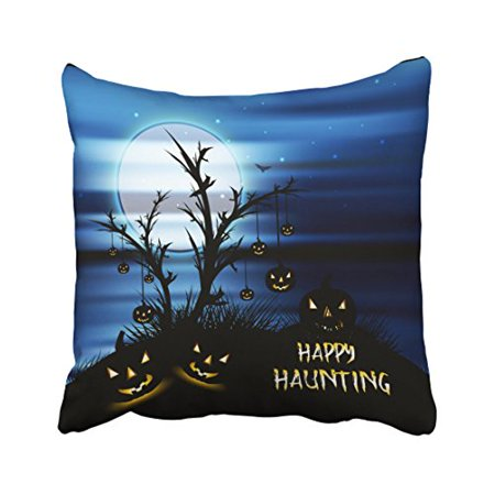WinHome Halloween Scary Scene Happy Haunting Throw Pillow Covers Cushion Cover Case 18x18 Inches Pillowcases Two Side - Halloween Ii Best Scenes