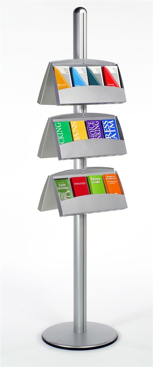 Brochure Display Rack for 4x9 Pamphlets, 24 total pockets, Literature Stand with 6 Height-adjustable Steel... by Displays2go