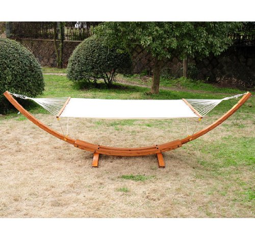 Outsunny Wide Wood Arc Outdoor Hammock & Stand Set by Aosom LLC
