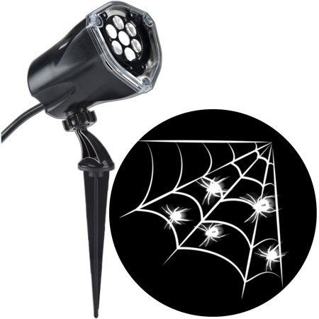Motion Activated Halloween Sounds (Halloween Lightshow Projection Plus-Whirl-a-Motion+Static-White Spider w/ Web (White) by Gemmy)