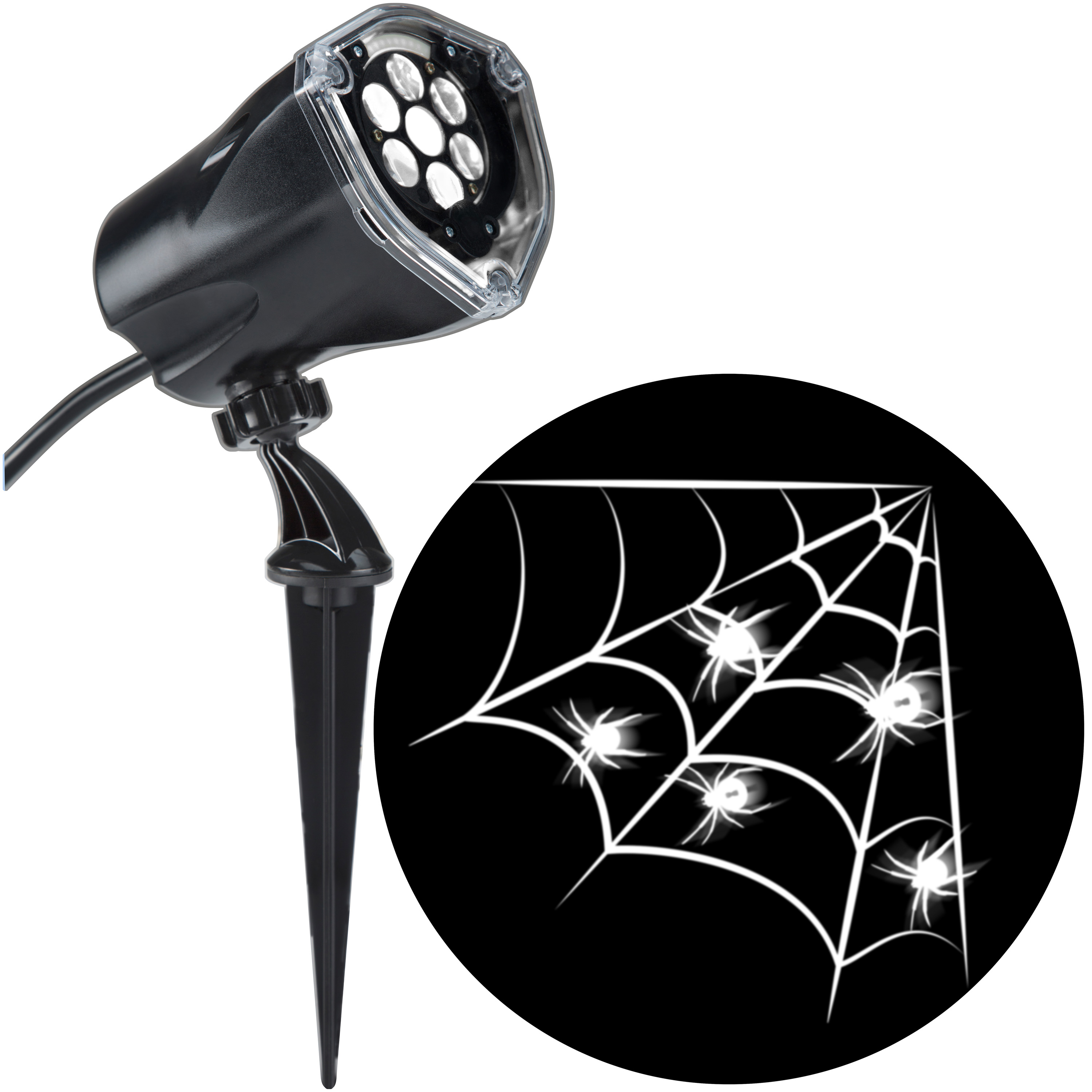Halloween Lightshow Projection Plus-Whirl-a-Motion+Static-White Spider w/ Web (White) by Gemmy Industries