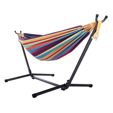 Clearance! Hammocks & Stand Sets for Patio & Garden, Portable Hammock with 8.5 FT Stand, Hammock with Space-Saving Steel Stand Includes Portable Carrying Case (Rainbow), S10384 (For Patio Ft)