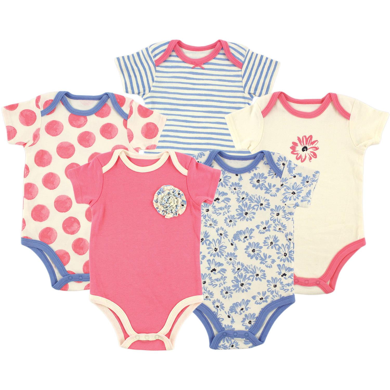 Hudson Baby Newborn Baby Girls Bodysuit 5-Pack - Tossed Flower