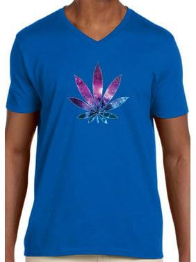 Trendy USA 1378 - Men's V-Neck T-Shirt Galaxy Marijuana Leaf Pot Plant High Large Royal Blue