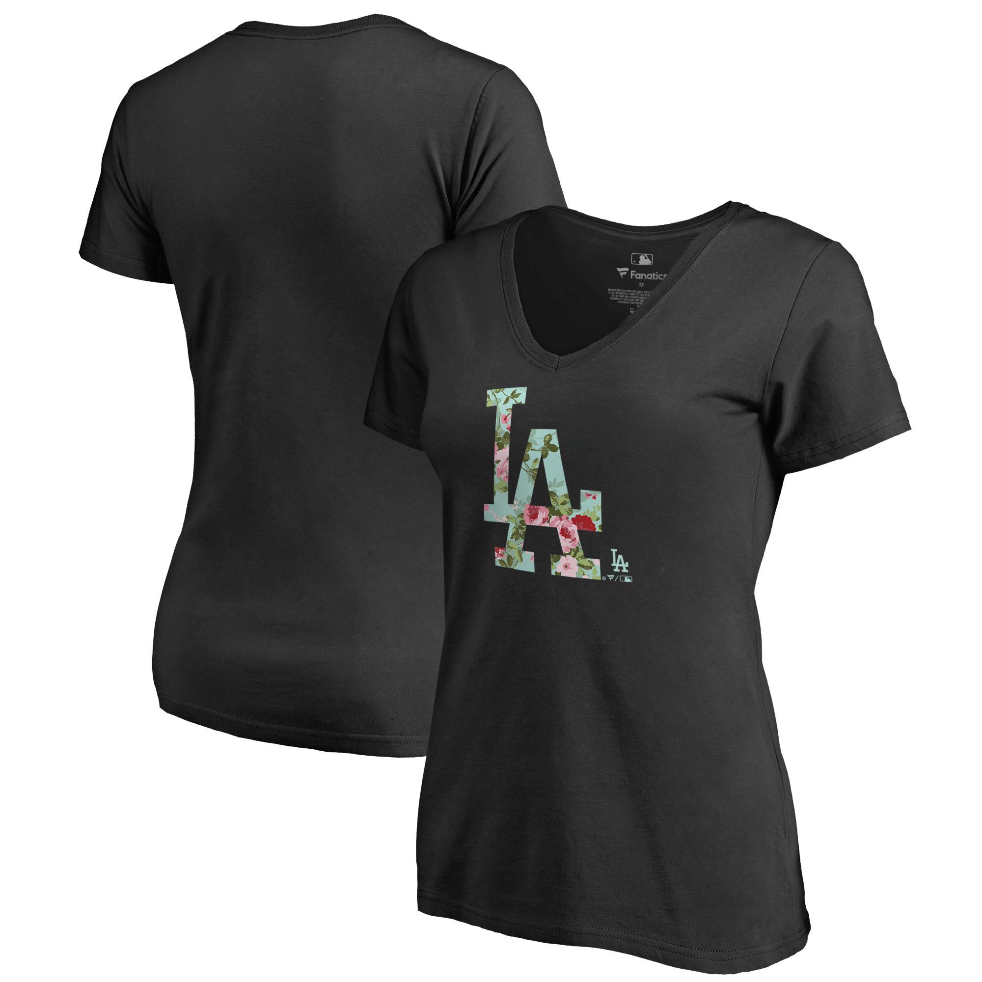 Los Angeles Dodgers Fanatics Branded Women's Lovely V-Neck T-Shirt - Black