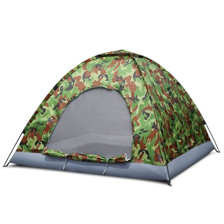 4 Person Camping Tent, Camouflage - Large Waterproof Lightweight Family Tent with Portable Carrying Bag, Ventilation Window Mesh, Easy Setup for Trekking Hiking Hunting