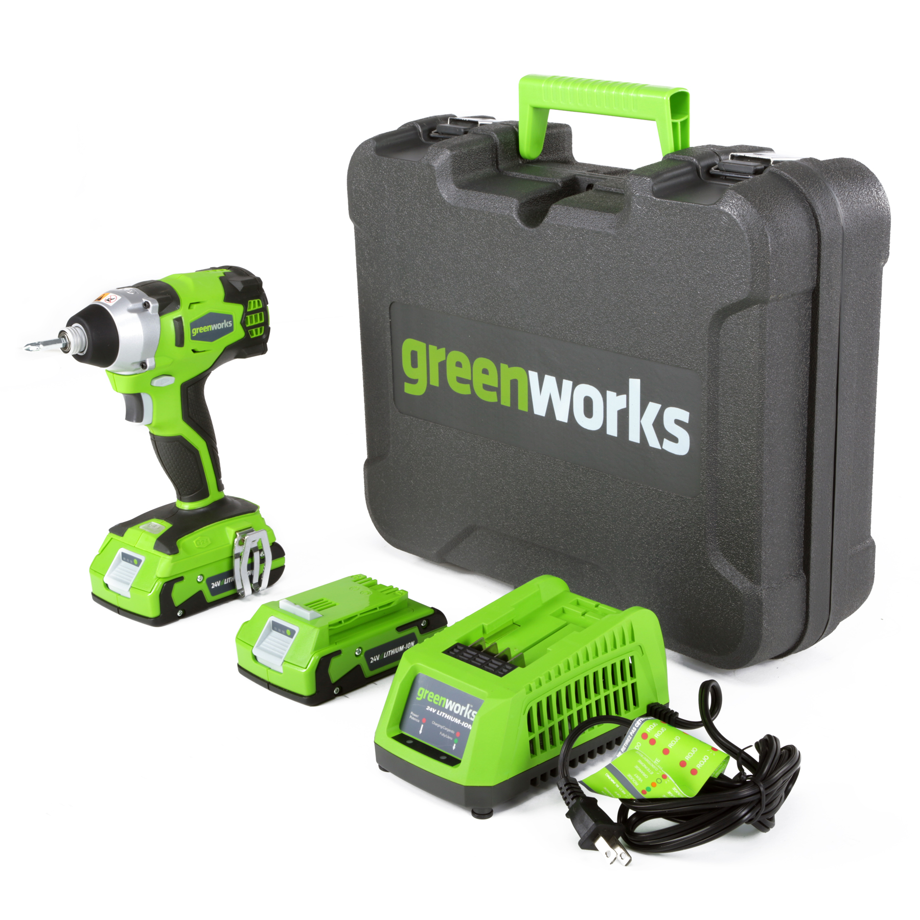 Greenworks 24V Cordless Impact Driver with two 2Ah Batteries & Charger