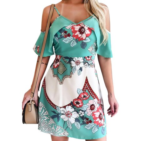 Women Cold Shoulder Floral V Neck Holiday A-Line Beach Ruffle Short Tea