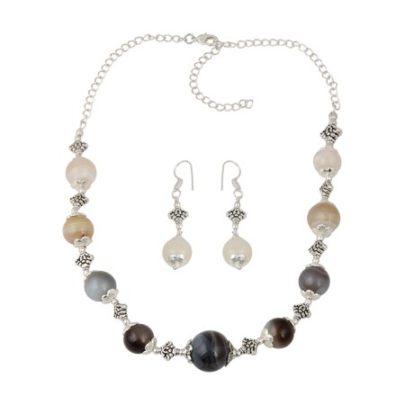 Ornate multi color Necklace and Earrings Botswana Agate Beaded Trendy Jewelry Set for Women - White