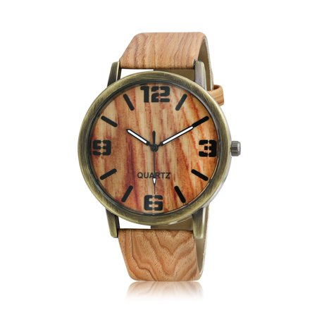 Brown Grained Leather (Fashion Brown Tan Faux Wood Grain Leather Watch Band Round Bezel Dial Wrist Watch Bronze Plated)