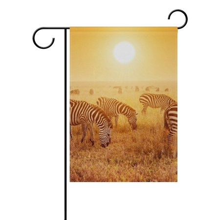 Rise Against Flag - POPCreation Zebra Field Sun Rise And Set Polyester Garden Flag Outdoor Flag Home Party Garden Decor 28x40 inches