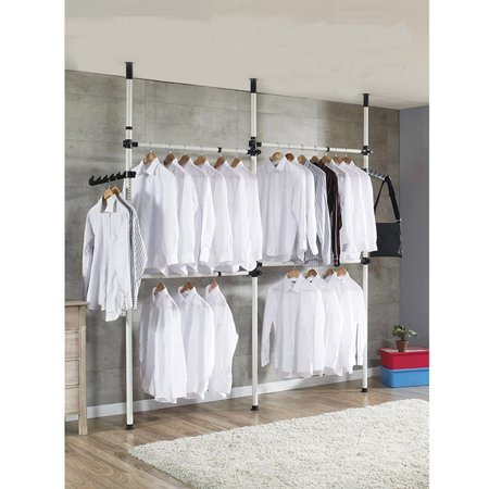 Portable Indoor Garment Rack Tools Diy Clothes Wardrobe One Touch Double 2 Tier Adjule Hange
