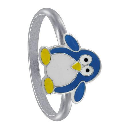 Gem Avenue Penguin Shape 925 Sterling Silver Blue Enamel Kids Ring Blue Silver Patterned Enamel Ring