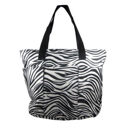 Large Black White Zebra Print Tote Diaper Bag