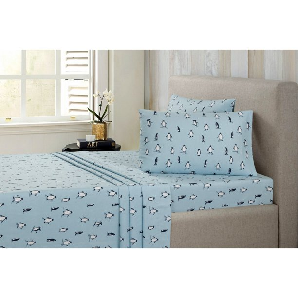 Modernist Flannel Penguin Twin Sheet Set Walmart Com Walmart Com