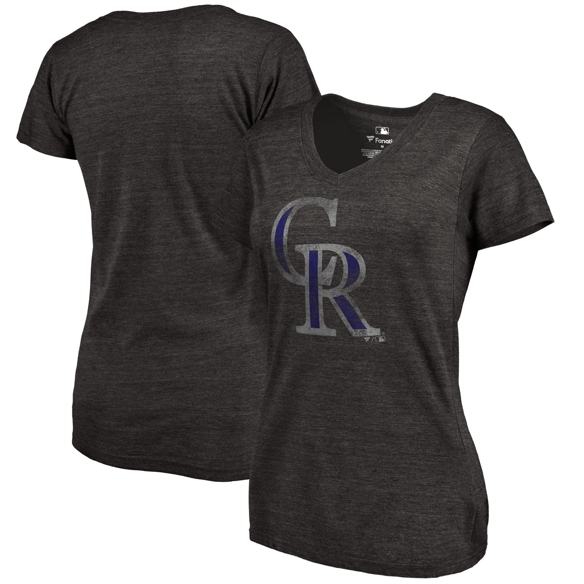 Colorado Rockies Fanatics Branded Women's Primary Distressed Team Tri-Blend V-Neck T-Shirt - Heathered Black