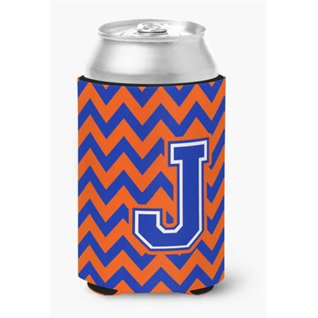 Letter J Chevron Orange & Blue Can or Bottle Hugger, 0.25 x 4 x 5.5 in. - image 1 de 1