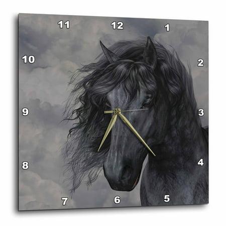 3dRose A black Frisian horse portrait in a cloudy sky, Wall Clock, 15 by 15-inch