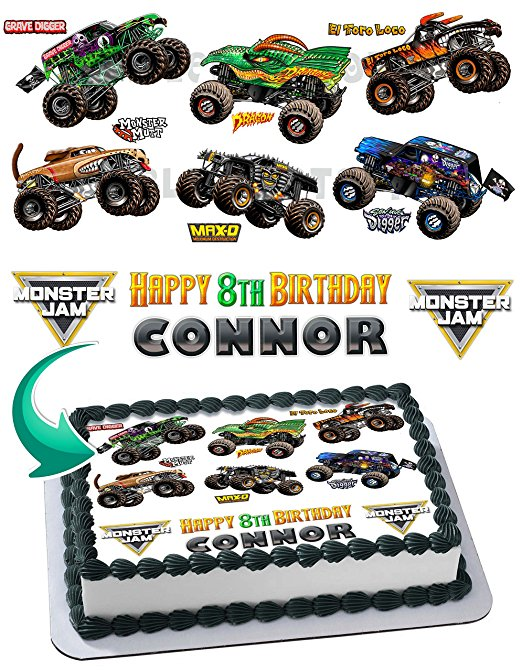 Admirable Monster Truck Monster Jam Grave Digger Cake Edible Image Cake Funny Birthday Cards Online Alyptdamsfinfo
