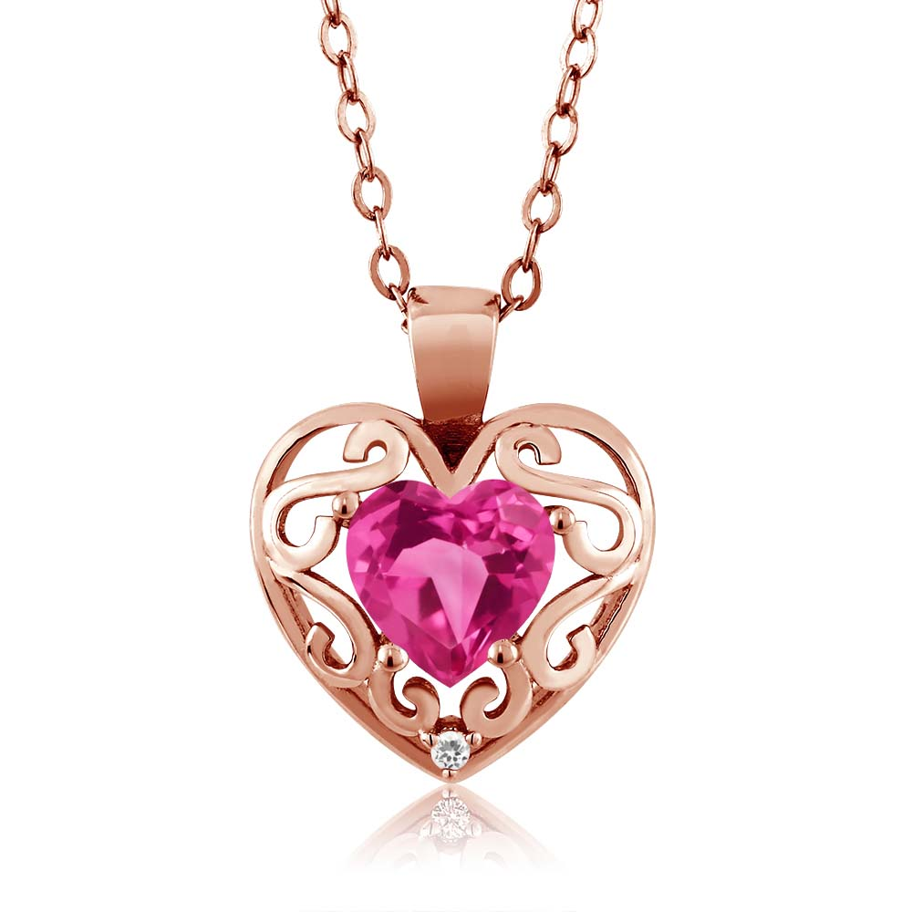0.91 Ct Heart Shape Pink Mystic Topaz Sapphire Gold Plated Silver Pendant