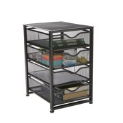 Mind Reader 4-Tiered Drawers Cabinet, Rolling Mesh Office Cart, Metal Storage, Drawers, File Storage Cart, Utility Cart, Office Storage, Heavy Duty Multi-Purpose Cart, Black