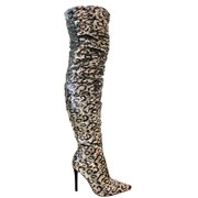 Javir-1 Women Over the Knee Thigh High Pointed Toe Sequin Sparkle Boots Stiletto Slim Sexy Heel Multicolor